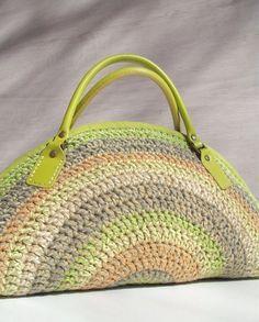 Crocheted bag handbag purse shoulder bag with lime by colettecolor, $108.00