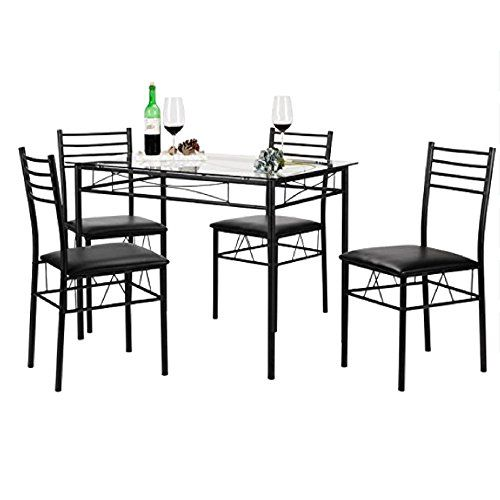 Amazon Com 5 Piece Kitchen Table Set Brown Faux Marble Top Counter Height D Living Room Sets Furniture Kitchen Table Settings Counter Height Dining Table Set