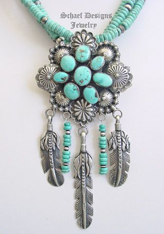L James Turquoise & Sterling Silver Dream catcher Necklace | www.schaefdesigns.com | New Mexico
