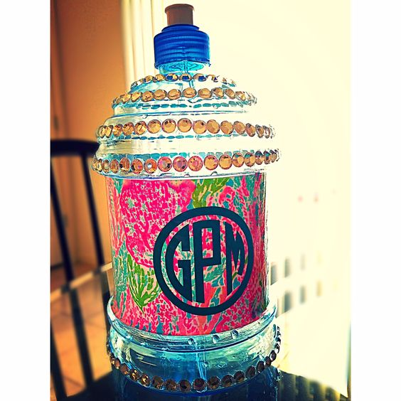 spring break decorated water bottle monogram lilly