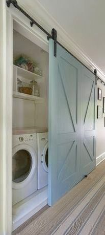 Beach House perfection - laundry room, nautical style!! Great if you don't have a typical laundry room - but a laundry closet! #laundryroom #slidingdoor