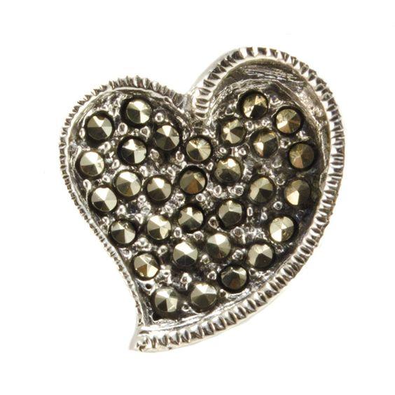 .925 Sterling Silver Marcasite Heart Pendant