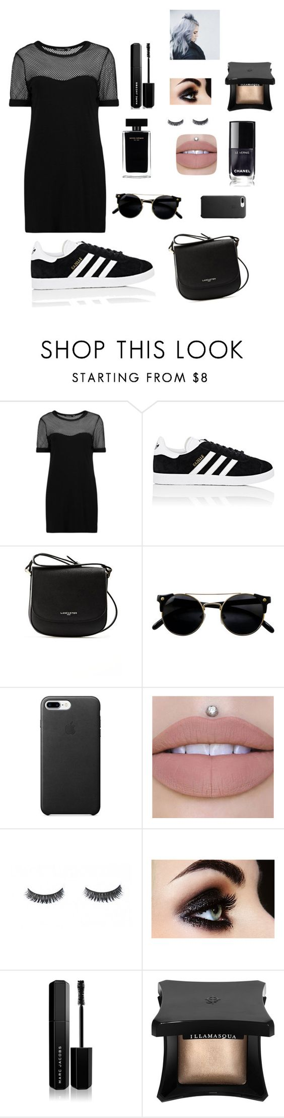 """""""Black Majesty"""" by emilythill2001 ❤ liked on Polyvore featuring Boohoo, adidas, Lancaster, Narciso Rodriguez, Marc Jacobs and Illamasqua"""