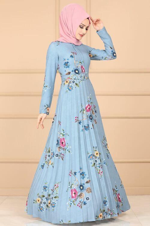 Modaselvim Elbise Etegi Piliseli Elbise 2137ms212 Mavi Elbise The Dress Moda Stilleri