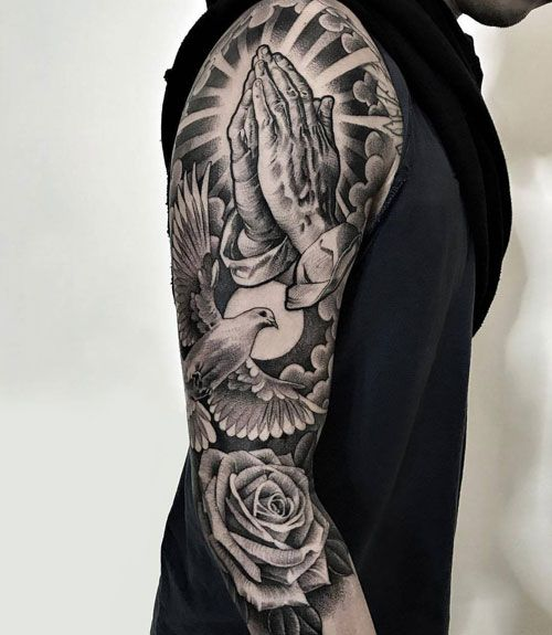 125 Best Sleeve Tattoos For Men Cool Ideas Designs 2020 Guide Christian Sleeve Tattoo Tattoos For Guys Half Sleeve Tattoos For Guys