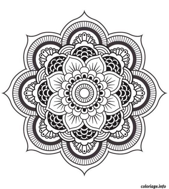 Coloriage mandala fleur dessin imprimer tattoo pinterest crayons de couleur mandalas et - Dessin de mandala a imprimer ...