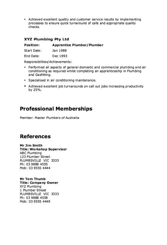 Master Plumber Resume Example -    resumesdesign master - plumber apprentice sample resume