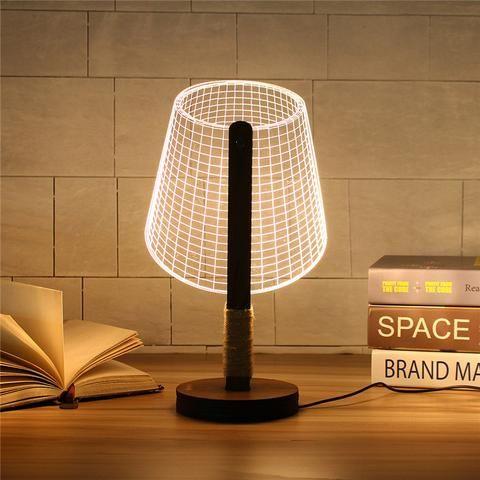 Dimmable Acrylic 3d Led Table Lamp Base Wood Stolik Dlya Lampy Vintazhnye Lampy Svetodiodnaya Lampa