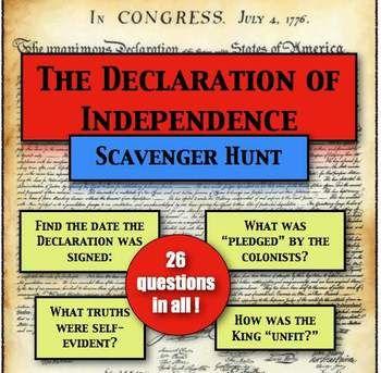 ** 10% OFF SALE ENDS TODAY **  Declaration of Independence: A Scavenger Hunt!
