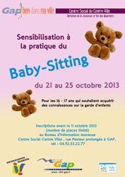 GAP - Du 21 au 25 octobre -  Sensibilisation à la pratique du Baby-sitting - Limite d'inscription le 11 octobre