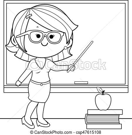 Teacher Clipart Black And White Teacher Teaching At Class Coloring Teacher Images Cartoon Coloring Pages Coloring Books