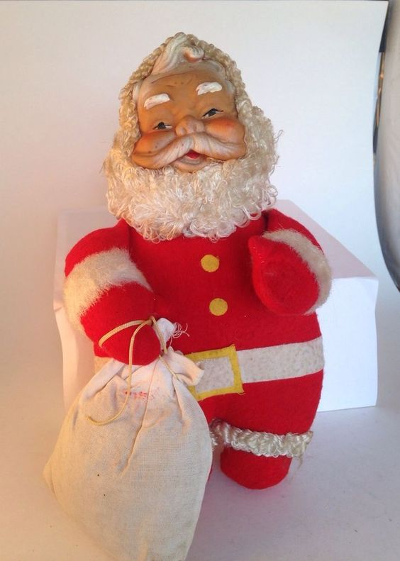 "Vintage Antique Felt Santa Claus 10"" Christmas 