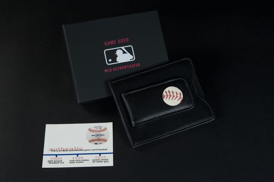 Wallet with authentic MLB game-used baseball.