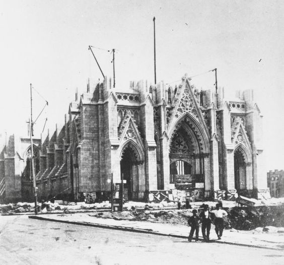 "The cornerstone of ST. PATRICK's CATHEDRAL was laid in 1858, 5-years after ARCHBISHOP JOHN HUGHES proposed his plan.   Ridiculed as ""Hughes' Folly,"" as the ""near-wilderness"" site was considered too far outside the city, the Archbishop persisted in his daring vision of building the most beautiful Gothic Cathedral in the New World.  Neither the bloodshed of the Civil War nor the resultant lack of manpower or funds derailed his' dream.  (PHOTO:  Construction of St. Patrick's Cathedral, 1868.)"