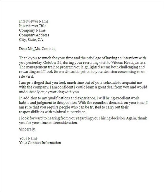 Follow Up Thank You Letter - Sample thank you letter with - thank you letter to employer