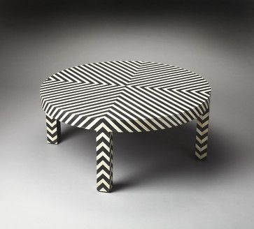 Zanzibar Black Bone Inlay Cocktail Table - eclectic - Coffee Tables - Contemporary Furniture Warehouse