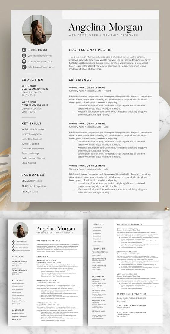 Professional Resume Template Instant Download 1 Page Resume Template For Ms Word Diy Resume T Resume Template Professional Resume Design Resume Template Word