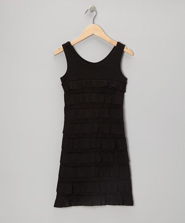 Black tiered ruffle dress