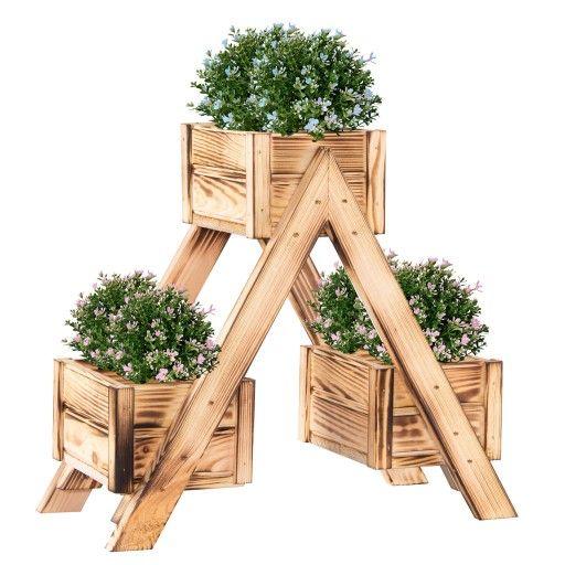 Stojak Na Kwiaty Kwietnik Drewniany Opalany Ogrod 9497251975 Oficjalne Archiwum Allegro Crafts Wood Texture