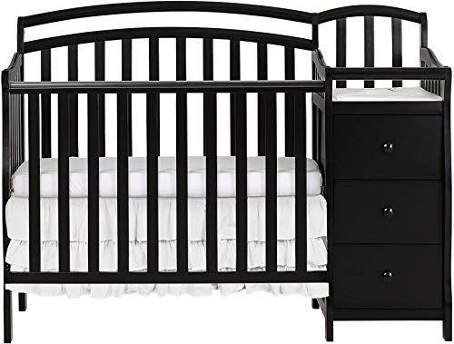 New Dream On Me Casco 3 1 Mini Crib Dressing Table Combo Black Online Gotopratedseller In 2020 Mini Crib Nursery Furniture Sets Cribs
