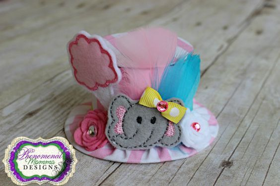 Ellie The Elephant Circus Birthday Hat Mini Top Hat by PMDBoutique, $22.00