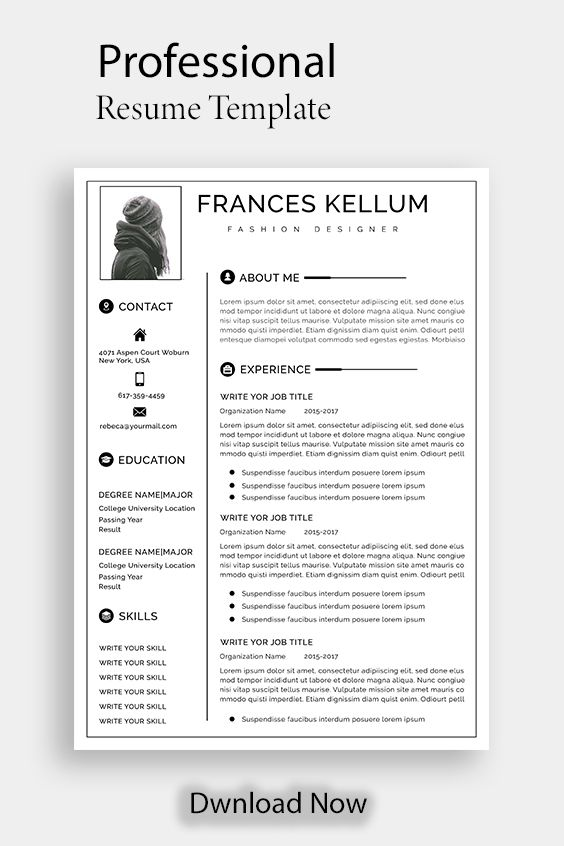 Resume Template Instant Download Professional Resume Etsy Resume Template Professional Resume Template Resume Template Word