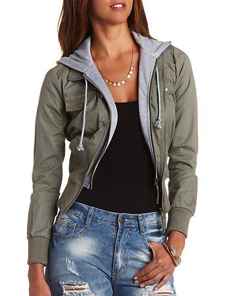 Layered & Hooded Bomber Jacket