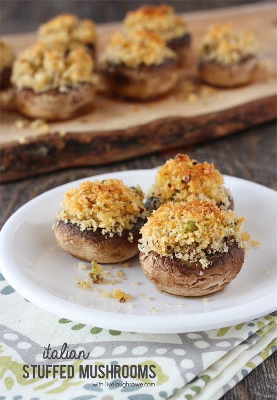 Delicious and easy Italian Stuffed Mushrooms make the perfect appetizer (try with GF breadcrumbs, homemade seasoning mix)