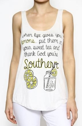"Y'all+know+southern+girls+are+sweet+just+like+our+tea!!+Grab+up+this+super+cute+tank+for+this+summer,+""When+life+gives+you+lemons+put+them+in+your+sweet+tea+and+thank+God+you're+southern"""