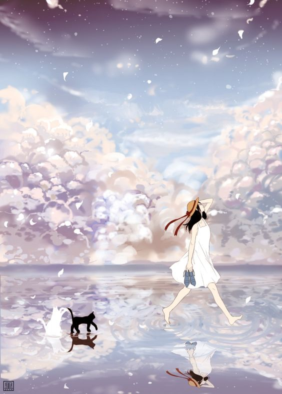 Anime girl and cat