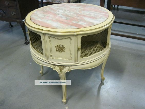 French Louis Xv Salmon Marble Round Lamp Parlor Table 2 Door Cabinet Gold Gilt 1900-1950 photo