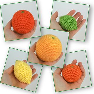 Amigurumi Citrus Collection  by June Gilbank - Free Crochet Pattern - Play Food: