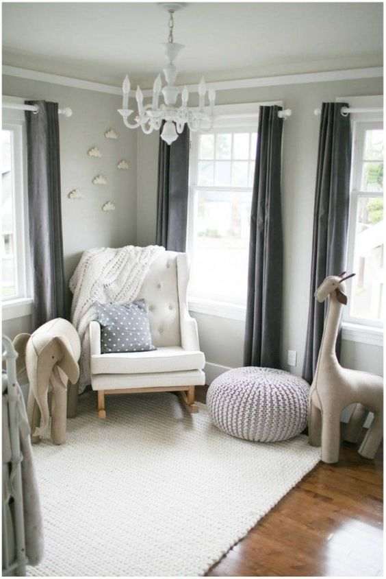 soft gray paint idea for boy's nursery room: