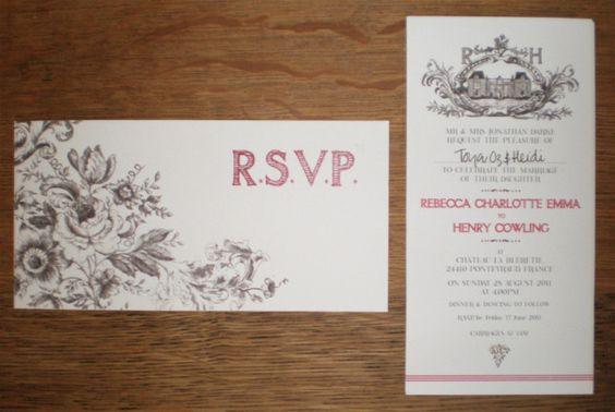 Wedding invitation and RSVP card for a wedding in the south of France