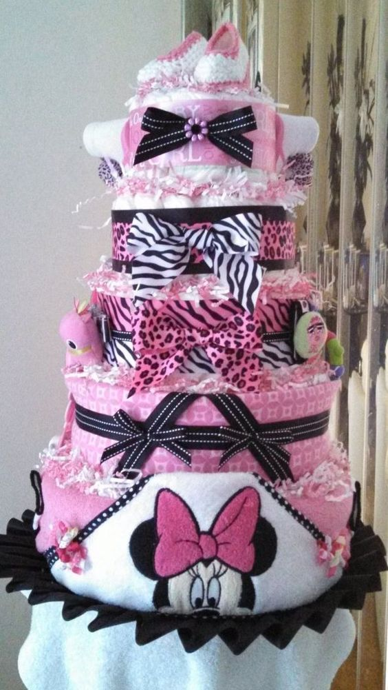 Minnie mouse baby shower washcloth cake minnie mouse for Baby minnie mouse decoration ideas