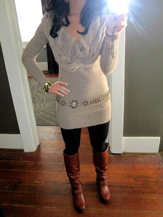 Sweater dress leggings and boots....done ) | hair/fashion/beauty | Pinterest | Bottes ...