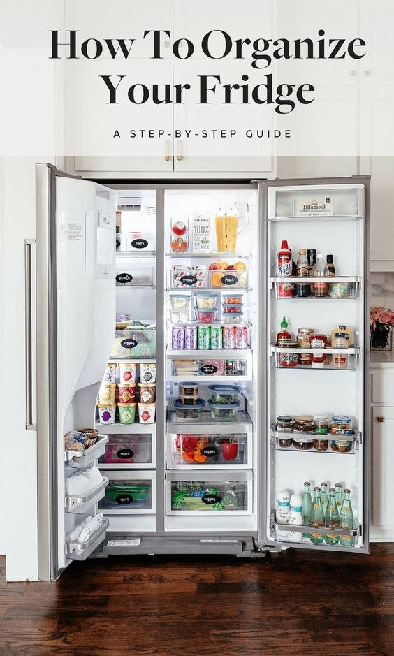 Tips on how to perfectly organize your kitchen refrigerator - including what storage containers to buy, a checklist, and information on how long to store things in the fridge! #diyorganization #Refrigerators