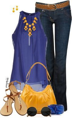 Casual Outfit in cobalt and mustard