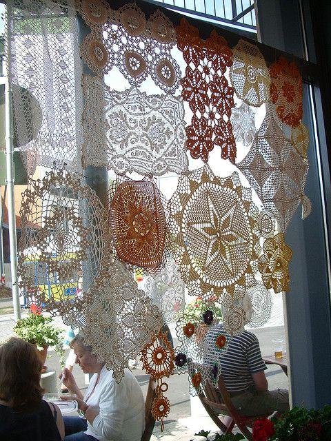 crochet patchwork curtains