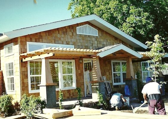 Exterior front entry with arbor the craftsman post style for Craftsman style trellis