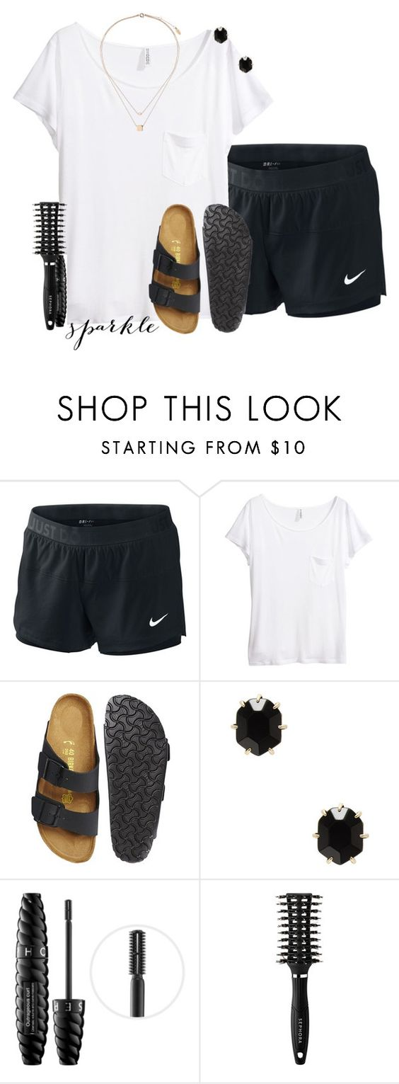"""""""I'm flying home today"""" by sydneymellark ❤ liked on Polyvore featuring NIKE, H&M, Birkenstock, Kendra Scott, Sephora Collection, Topshop and summerstyle"""