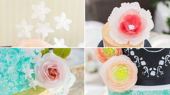 Cómo hacer flores con papel de arroz o wafer paper - Tutorial - María Lu...