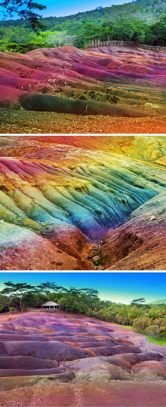 The multicolored earth in Chamarel, Mauritius was formed when volcanic rock cooled at different temperatures. It is truly an amazing site. See 20 more UNREAL travel destinations on Avenly Lane Travel!