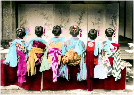 https://flic.kr/p/nkKQot | SHOW ME THE OBI !!! | It's KIMONO CHAOS in Old Japan !  OK. I admit defeat. I can't explain this one with any authority, and I don't want to waste your time with my educated guesses... which are usually wrong half the time, anyway.  What we need here is an IMMORTAL GEISHA to log on and leave an expert comment telling us exactly what these Japanese girls are all dressed up for.  All I know for sure is that, even though I can't see their faces, I can declare every on...: