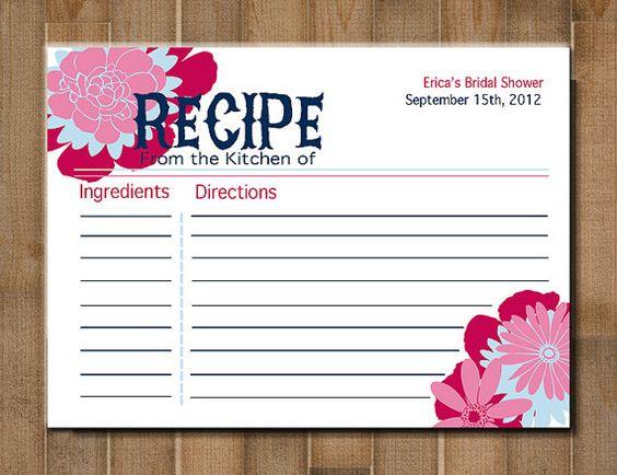 PRINTABLE  Recipe Card Flower Bursts   Bridal by BlueMoonDesigns1, $9.00