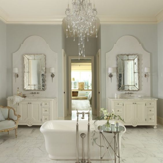 Chandelier Over Bathtub: French Bathroom Features Crystal Chandelier Suspended Over