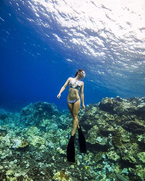 Amazing clarity water in Fiji. Waterwoman and underwater photographer Alicia Franco wearing AVA Maddox and Brazilian btms. AVA print was taken by Alicia on one of her trips to Tahiti.