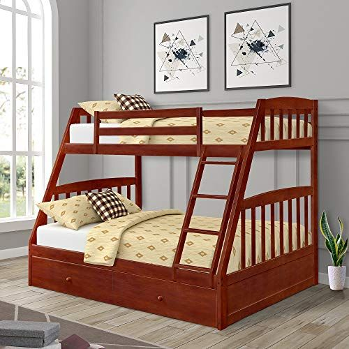 Twin Over Full Bunk Bed With Storage Drawers Weyoung Solid Wood