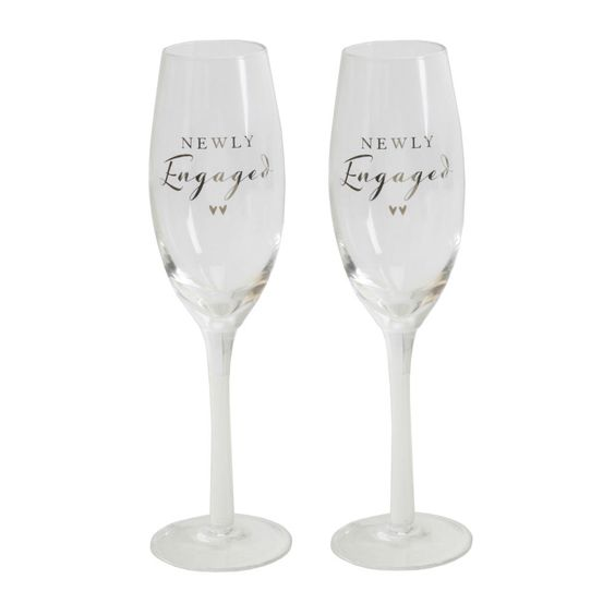 AMORE CHAMPAGNE FLUTES SET OF 2 NEWLY ENGAGED GLASSES ENGAGEMENT  GIFT