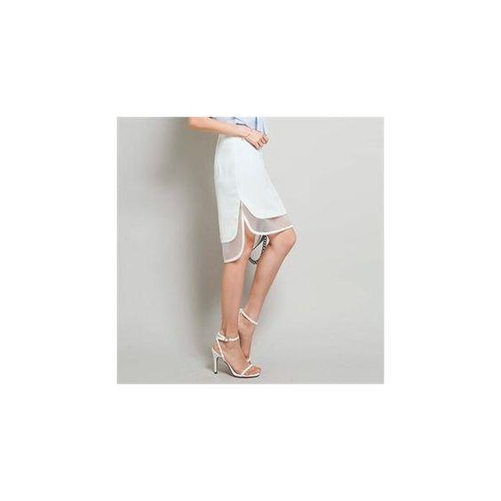 Dip-Back Sheer-Trim Skirt ($65) ❤ liked on Polyvore